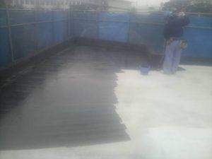 屋上シート防水 プライマー塗布状況
