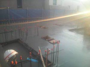 2階立上り、3階スラブ コンクリート打設