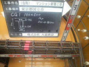 CG1 180×500 上端筋 4-D16 下端筋 4-D16 スタラップ D10-□-@200